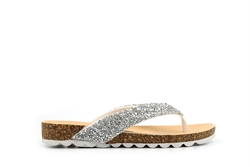 Womens High Sparkle Toe Post Sandals White/Silver