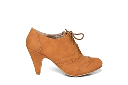Womens Brogue Lace Up Ankle Boots Camel