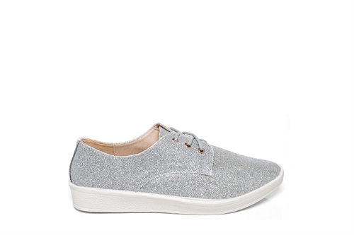Womens Glitter Trainers With Lace Up Fastening Silver