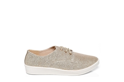 Womens Gold Glitter Trainers With Lace Up Fastening