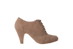 Womens Brogue Lace Up Ankle Boots Mocha