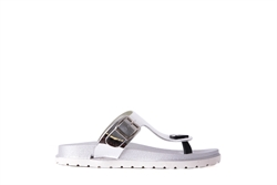 Womens Jelly Flat Toe Post Sandals Silver