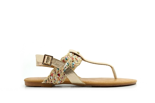 Womens Tow Post Sandals With Interwoven Strap Gold