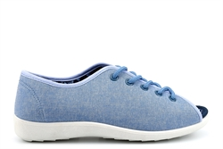 Dr Keller Womens Canvas Open Toe Lace Up Shoes Blue