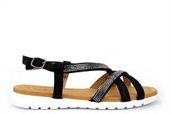 Dr Keller Womens Diamante Strap Sandals Black