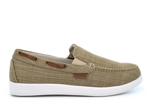 Dr Keller Mens Twin Gusset Canvas Shoes Beige