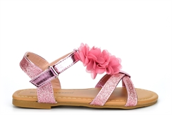 Chatterbox Girls Glitter Sandals With Touch Fastening Pink