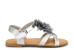 Chatterbox Girls Glitter Sandals With Touch Fastening Silver