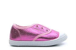 Chatterbox Girls Slip On Gusset Glitter Pumps Pink