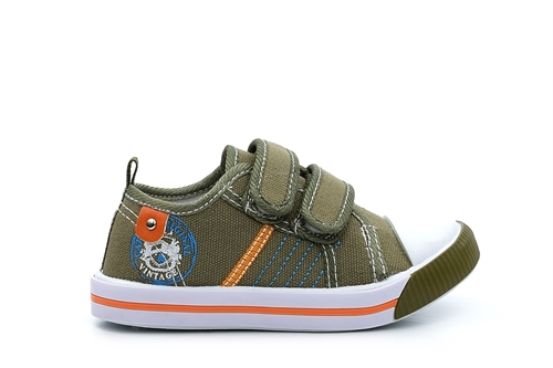 Chatterbox Boys Touch Fasten Canvas Pumps Green