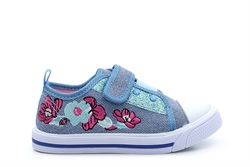 Chatterbox Girls Velcro Canvas Pumps With Floral Detail Blue