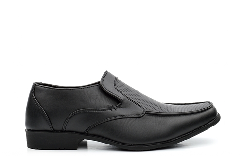 Boys Slip On Formal School Shoes With Memory Foam Insole Black