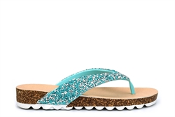 Womens High Sparkle Toe Post Sandals Turquoise