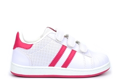 Mercury Kids Velcro Touch Fasten Trainers White/Fuchsia