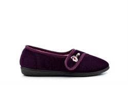 Jyoti Womens Touch Fasten Slippers With Embroidered Flower Detail Burgundy