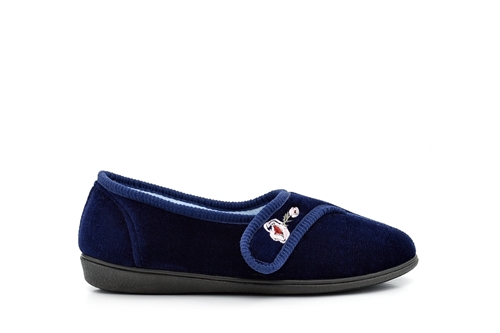 Jyoti Womens Touch Fasten Slippers With Embroidered Flower Detail Navy