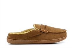 Response Mens Ultra Light Fur Lined Mule Slippers Brown