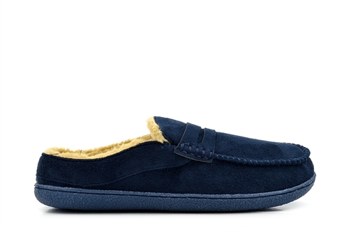 Response Mens Ultra Light Fur Lined Mule Slippers Navy