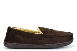 Response Mens Ultra Light Fur Lined Moccasin Slippers Brown