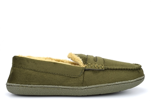 Response Mens Ultra Light Fur Lined Moccasin Slippers Khaki