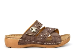 Womens Diamante Lightweight Mule Sandals With Adjustable Touch Fastening Strap Brown