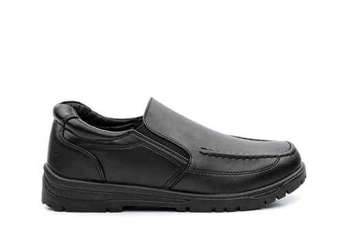 Boys Slip On School Shoes With Stitching Detail Black