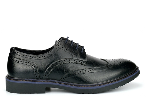 Mens Faux Leather Brogue Shoes Black