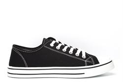 Urban Jacks Womens Classic Low Cut Canvas Shoes Black/White