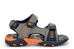 Ascot Boys Summer Sandals With Triple Touch Fastening Straps Grey/Navy/Orange