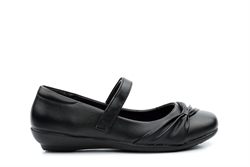 US Brass Girls Velcro Strap School Shoes With Bow Detail Black