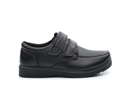 US Brass Boys Touch Fasten School Shoes With Durable Sole Black