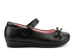 US Brass Girls Velcro School Shoes With Bow Detail