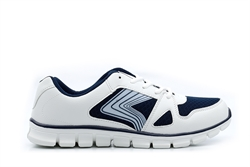 Ascot Mens Lace Up Trainers White/Navy
