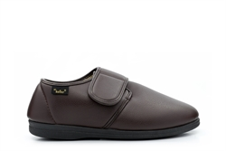 Dr Keller Mens Wide Fit Velcro Slippers With Faux Leather Upper Brown