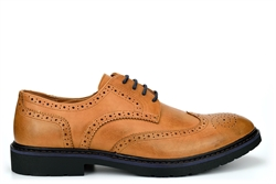 Mens Faux Leather Brogue Shoes Tan