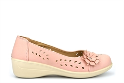 Shoe Tree Womens Comfort Shoe With Low Wedge Heel And Flower Detail Pink