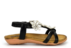 Chix Girls Sandals With Diamante Flower Detail And Elasticated Back Strap Black