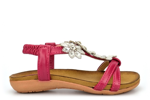 Chix Girls Sandals With Diamante Flower Detail And Elasticated Back Strap Fuchsia
