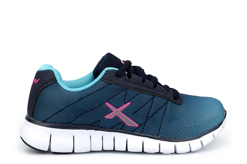 Childrens Lace Up Trainers Turquoise/Navy