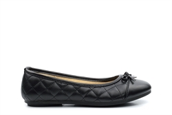 Chix Girls Quilted Slip On School Shoes Black