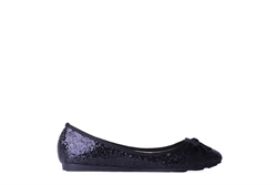 Womens Glitter Ballet Pumps Black