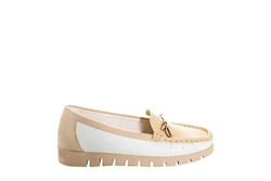 Womens Moccasin Shoes With Metal Bar Detail Beige