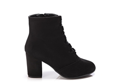 Womens Faux Suede Ankle Boots With Lace Up Detail Black