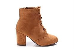 Womens Faux Suede Ankle Boots With Lace Up Detail Camel