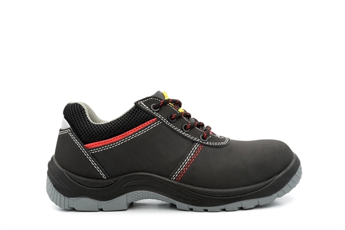 Tradesafe Leather Coated Lace Up Safety Shoes Black/Red
