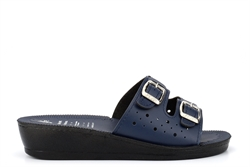 Womens Lightweight Mule Sandals With Adjustable Buckle Straps Navy