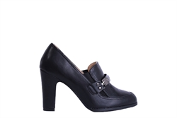 Womens Block Heeled Faux Leather Slip On Shoes Black