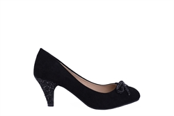 Womens Glitter Bow Mid Heel Shoes Black