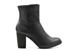 Womens Patchwork Faux Leather Ankle Boots Black