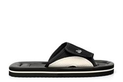 PDQ Womens/Mens Lightweight Touch Fastening Beach Mule Sandals Black/Grey